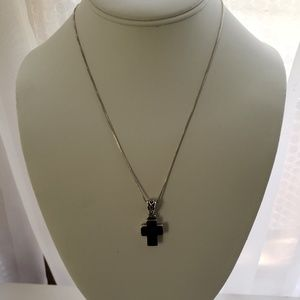 Jewelry - Black Silver Cross Necklace 18""